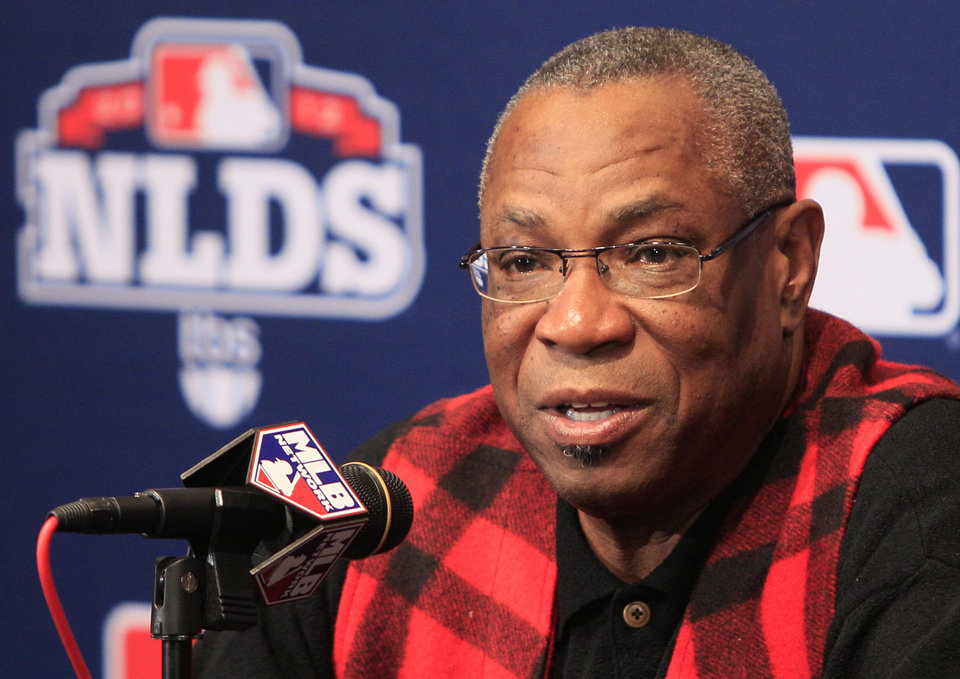 Photo -   Cincinnati Reds manager Dusty Baker speaks during a news conference, Monday, Oct. 8, 2012, in Cincinnati. The Reds host the San Francisco Giants in Game 3 of the National League division baseball series Tuesday. (AP Photo/Al Behrman)