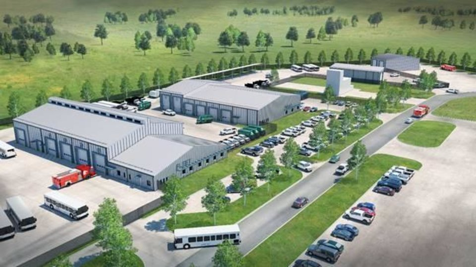 Photo -  An artist rendering shows the vision for the completed Municipal Maintenance Complex that will house the Fleet and Fire Maintenance Facility and Parks Maintenance Facility. [GRAPHIC PROVIDED]