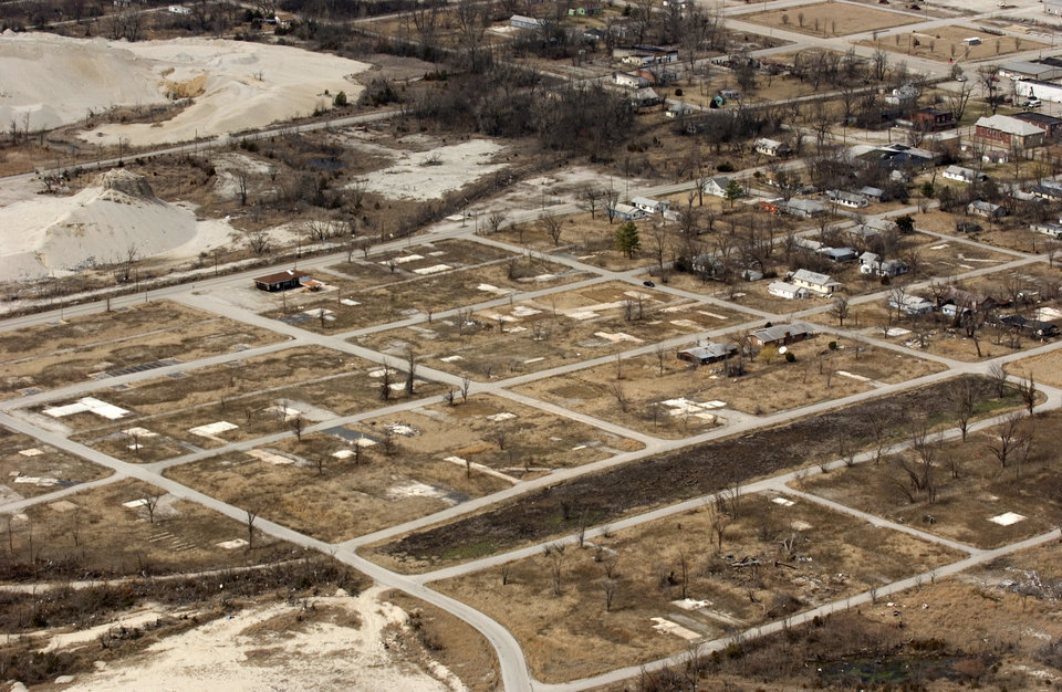Photo - AERIAL / TORNADO DAMAGE: South side of Picher where the tornado in May 2007 destroyed most of the homes and now just the slabs where the homes used to be. GARY CROW/FOR THE TULSA WORLD ORG XMIT: DTI1003101533362624