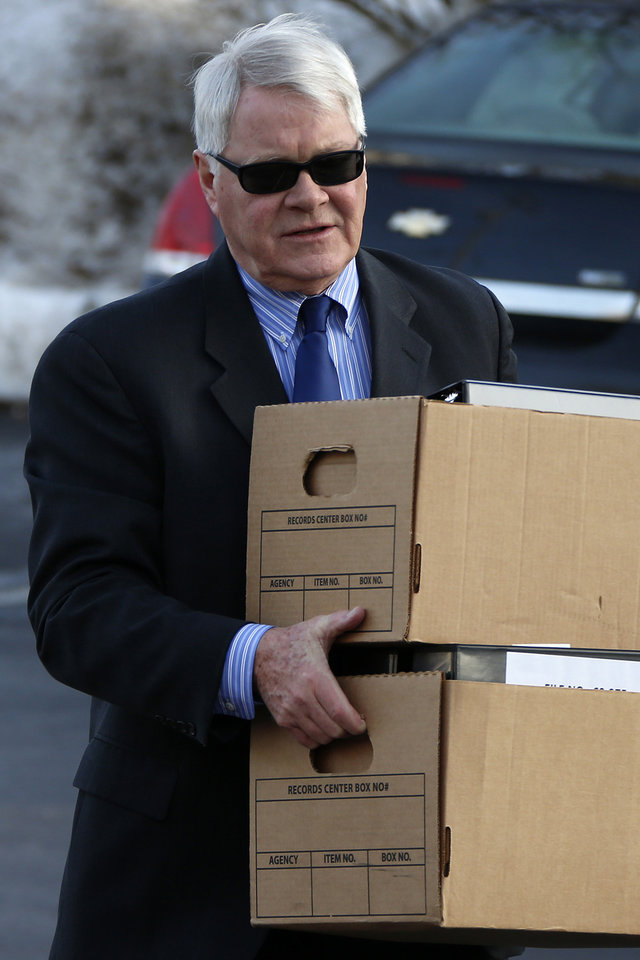 Prosecutor Joseph McGettigan III arrives at the courthouse for a Jerry Sandusky hearing at the Centre County Courthouse, in Bellefonte, Pa., Thursday, Jan. 10, 2013. The hearing is expected to delve into the legal challenges filed by Sandusky's lawyers, including their claim that a deluge of prosecution materials swamped the defense. Sandusky is serving a 30- to 60-year prison sentence after being convicted in June of 45 counts of child sexual abuse. (AP Photo/Gene J. Puskar)