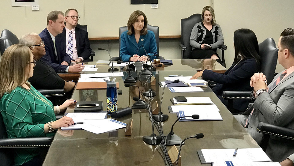 Photo -  The State Board of Education meets for an emergency meeting to discuss the spread of COVID-19 in Oklahoma Monday, March 16, 2020. [Chris Landsberger/The Oklahoman]