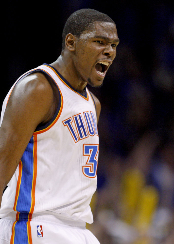 Oklahoma City's Kevin Durant (35) reacts during the NBA basketball game between the Denver Nuggets and the Oklahoma City Thunder in the first round of the NBA playoffs at the Oklahoma City Arena, Sunday, April 17, 2011. Photo by Bryan Terry, The Oklahoman