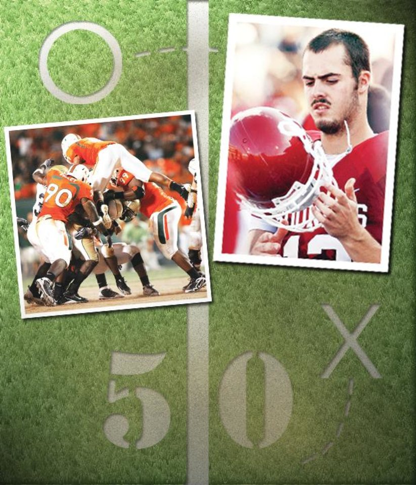 Photo - OU quarterback Landry Jones (right) needs to play smart, or he may get swarmed by the Miami defense (left). Miami photo by The Associated Press; Jones photo by Steve Sisney, The Oklahoman; Illustration by Bill Bootz, The Oklahoman