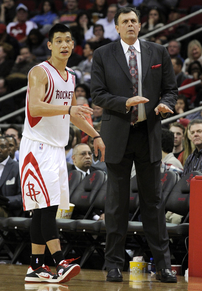FILE - In this Dec. 22, 2012, file photo, Houston Rockets\' Jeremy Lin (7) talks with coach Kevin McHale during the second half of an NBA basketball game against the Memphis Grizzlies in Houston. Two weeks ago, the Rockets were one of the league\'s highest-scoring teams. They\'ve failed to hit 100 points in half their games since, and Lin is in a major slump. (AP Photo/Pat Sullivan, File)