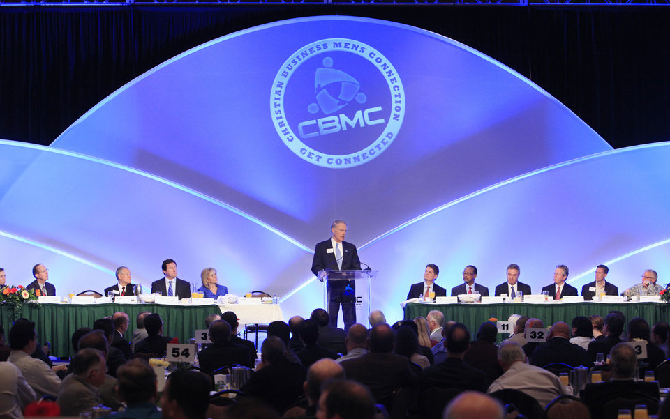 Guest speaker Bob Vernon speaks during the 2011 CBMC Metro Prayer Breakfast in downtown Oklahoma City. This year's event is set for March 26 at the Cox Convention Center.  <strong>PAUL B. SOUTHERLAND - PAUL B. SOUTHERLAND</strong>