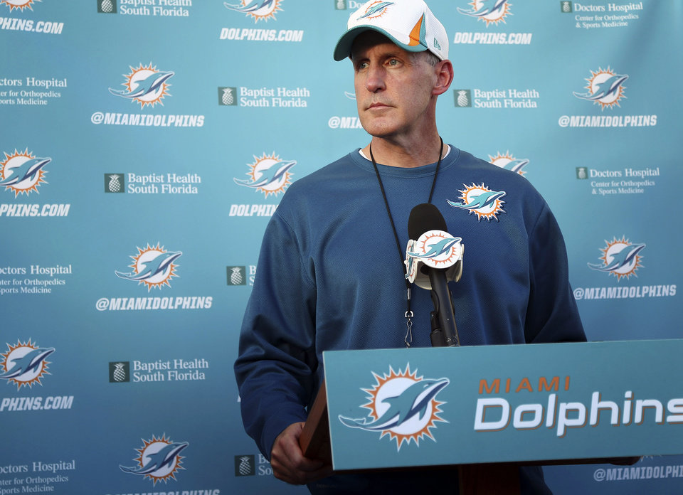 Photo - Miami Dolphins coach Joe Philbin talks to the media during a news conference after practice at the Dolphins training center in Davie, Fla., Wednesday, Nov. 6, 2013. NFL officials launched an investigation to try and determine who knew what and when about the troubled relationship between offensive lineman Richie Incognito and Jonathan Martin. (AP Photo/J Pat Carter)
