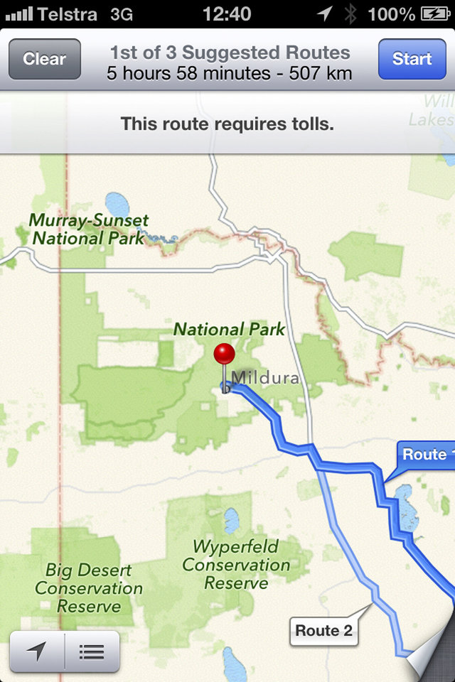 "This screen shot taken Tuesday, Dec. 11, 2012, of an iPhone's Apple mapping application shows the service placing the city of Mildura  70 kilometers (44 miles) away in the Murray Sunset National Park, a desert-like 5,000 square kilometer (1,900 square mile) region with scorching temperatures and virtually no mobile phone reception. Australian police are warning the public that errors in Apple's much-maligned mapping application are leading drivers headed to the southern city to take a potentially ""life-threatening"" wrong turn into the middle of a remote state park.  (AP Photo)"