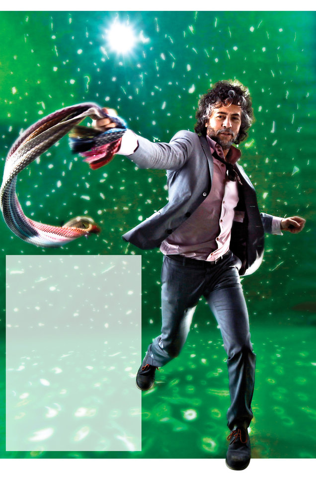 Photo - Wayne Coyne graphic with photo: **WEEKEND**Flaming Lips front man Wayne Coyne poses for a photo in the OPUBCO Studio on Tuesday, Dec. 15, 2009, in Oklahoma City, Okla  Photo by Chris Landsberger, The Oklahoman