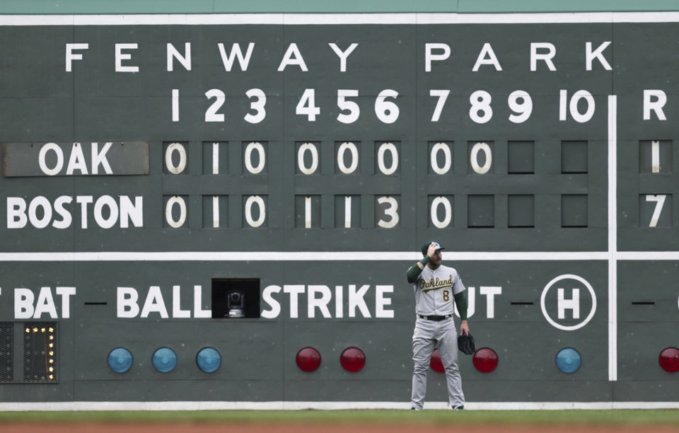 Photo - Oakland Athletics left fielder Robbie Grossman adjusts his cap as he waits for the next batter after a home run by Boston Red Sox's Christian Vazquez during the eighth inning of a baseball game at Fenway Park, Wednesday, May 1, 2019, in Boston. (AP Photo/Charles Krupa)