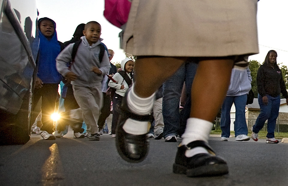 Photo - Students of Western Village Academy participate in the International Walk to School Day on Wednesday, Oct. 8, 2008, in Oklahoma City, Okla.  CHRIS LANDSBERGER, THE OKLAHOMAN  ORG XMIT: KOD