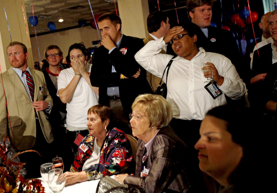 Photo - Supporters react as they watch results  during a Democratic  watch party in Oklahoma City on Tuesday, Nov. 2, 2010. Photo by Bryan Terry, The Oklahoman