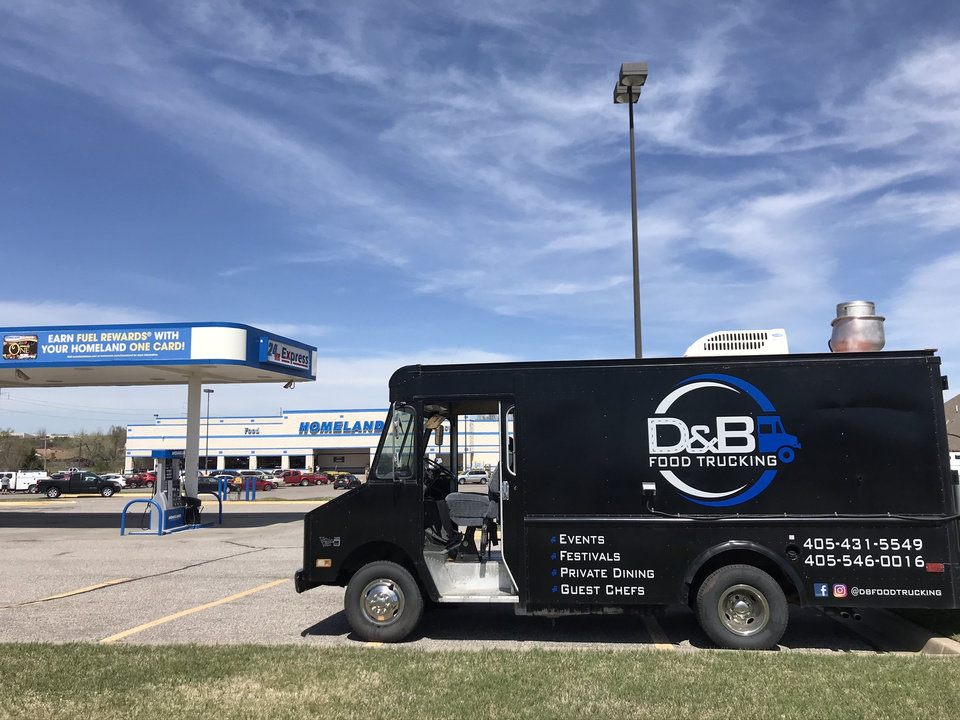 Photo -  A D&B Food Trucking vehicle is parked at the Homeland at 7001 NW 122 in Oklahoma City on Thursday. [Dave Cathey/The Oklahoman]