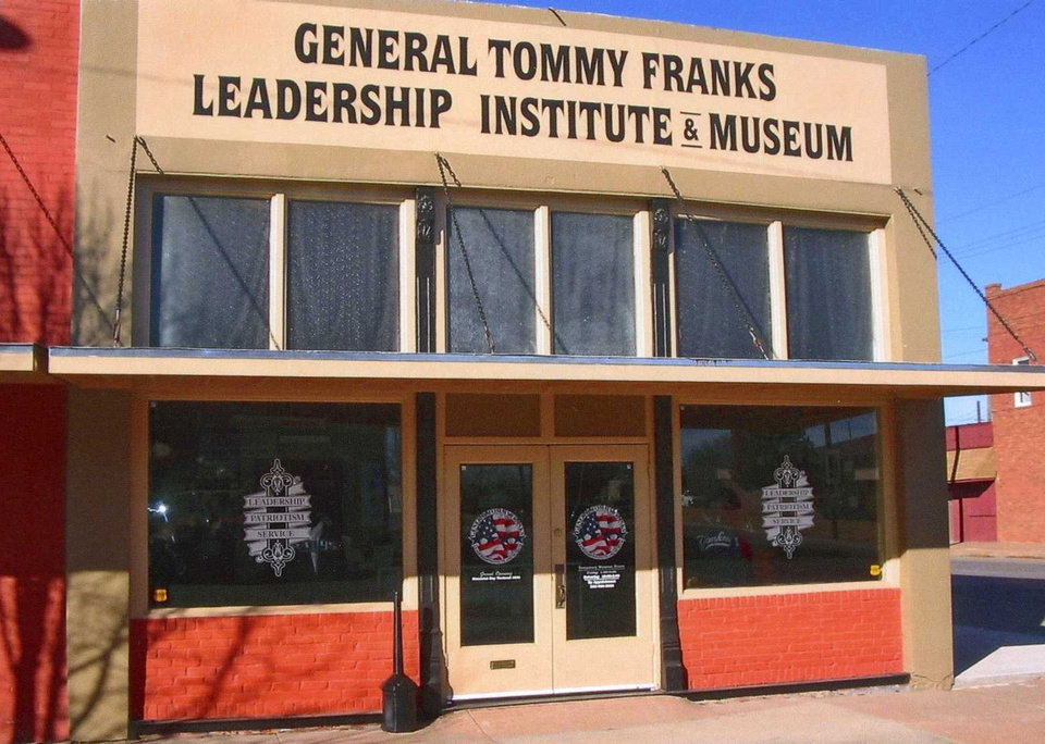 Photo - Retired U.S. Army Gen. Tommy Franks selected Hobart to be the site for his museum of artifacts and memorabilia from around the world that reflects his distinguished career. Five historic buildings initially were secured and rehabilitated for the museum, which opened in 2009. Since then, two additional buildings have been acquired for museum expansion, including the old Peet?s Station, which was vacant and deteriorating. The museum attracts morej than 30,000 visitors a year. The State Historic Preservation Office commends the museum for the continued work.   - PROVIDED BY STATE HISTORIC PRESE