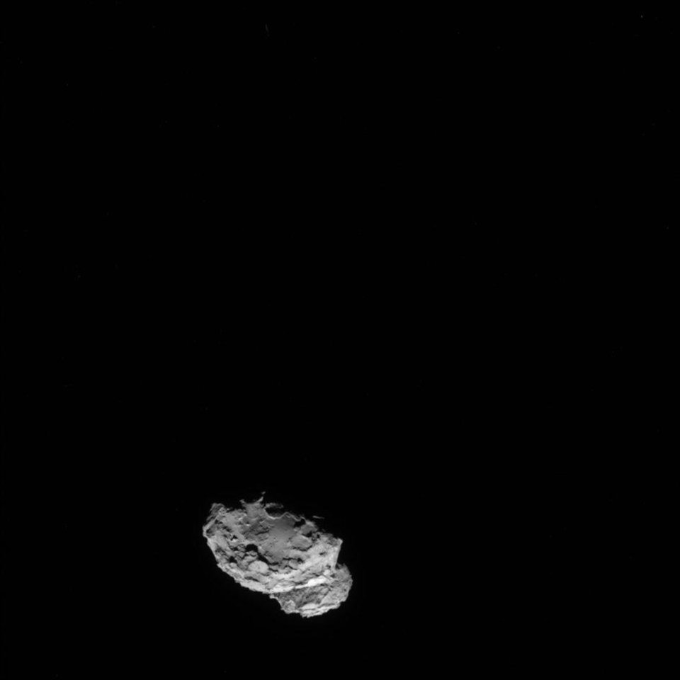 Photo - In this picture taken on Aug. 4, 2014 by Rosetta's OSIRIS narrow-angle camera Comet 67P/Churyumov-Gerasimenko is pictured from a distance of 234 kms. A mission to land the first space probe on a comet reaches a major milestone when the unmanned Rosetta spacecraft finally catches up with its quarry on Wednesday Aug 6, 2014. It's a hotly anticipated rendezvous: Rosetta flew into space more than a decade ago and had to perform a series of complex maneuvers to gain enough speed to chase down the comet on its orbit around the sun. The resolution has therefore been increased from 1024 x 1024 to 2048 x 2048 pixels. (AP Photo/ESA/Rosetta/MPS for OSIRIS Team )