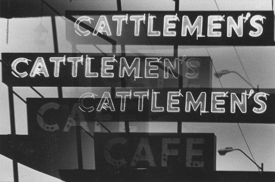 The neon lights of the 1980 Cattlemen�s Cafe sign beckoned to customers. OKLAHOMAN ARCHIVE PHOTO
