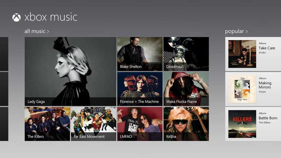 This image provided by Microsoft Corp. shows a screen image of their new service called, Xbox Music. Buyers of tablets that run Microsoft's newest operating system, Windows 8, are in for a pleasant musical surprise: they'll be able to handpick from a selection of millions of songs and stream them for free as long as they put up with an audio ad every 15 minutes. (AP Photo/Microsoft Corp.)
