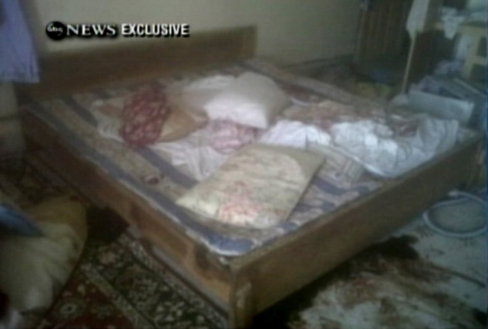Photo - This frame grab from video obtained exclusively by ABC News, on Monday, May 2, 2011, shows a section of a room in the interior of the compound where it is believed al-Qaida leader Osama bin Laden lived in Abbottabad, Pakistan. Bin Laden, the face of global terrorism and mastermind of the Sept. 11, 2001, attacks, was tracked down and shot to death in Pakistan, Monday, May 2, 2011, by an elite team of U.S. forces, ending an unrelenting manhunt that spanned a frustrating decade. (AP Photo/ABC News) ORG XMIT: LON904