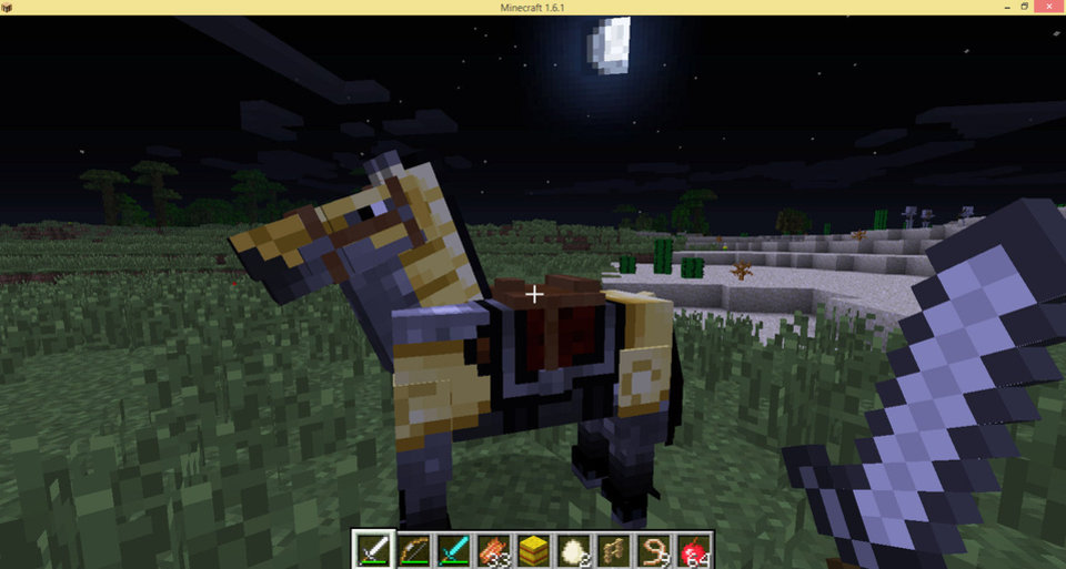 Photo - The desktop version of Minecraft updated last week to give players the ability to ride horses, shown here in this screen shot.