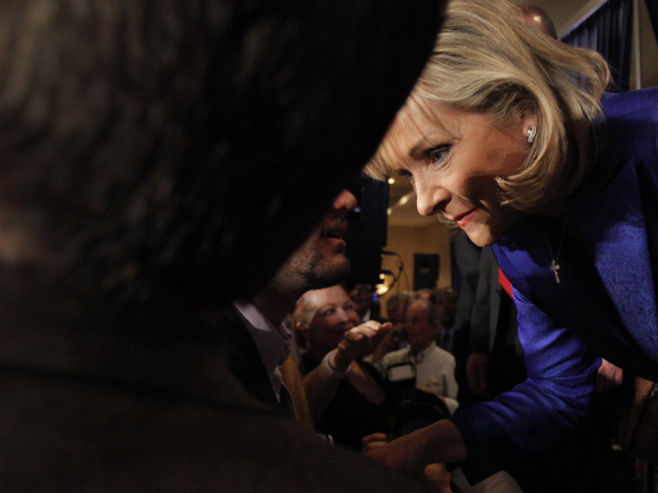 Photo - Governor elect Mary Fallin talks with supporters as they celebrate her win over Jari Askins at the republican Watch Party at the Marriott on Tuesday, Nov. 2, 2010, in Oklahoma City, Okla.   Photo by Chris Landsberger, The Oklahoman
