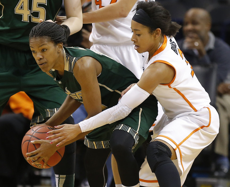 Oklahoma State's Tiffany Bias (3) defends South Florida's Courtney Williams (10) during the All-College Classic women's basketball game between Oklahoma State University and South Florida at Chesapeake Energy Arena in Oklahoma City, Okla., Saturday, Dec. 14, 2013. Photo by Bryan Terry, The Oklahoman
