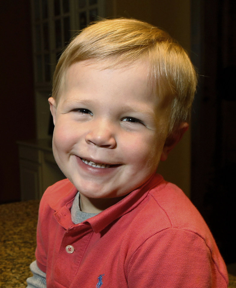 Photo - Drake Stallings is a 2-year-old Oklahoma boy who was diagnosed with hemophilia as an infant. Hemophilia is a rare blood disease in which the blood will not clot properly.  Jim Beckel - THE OKLAHOMAN