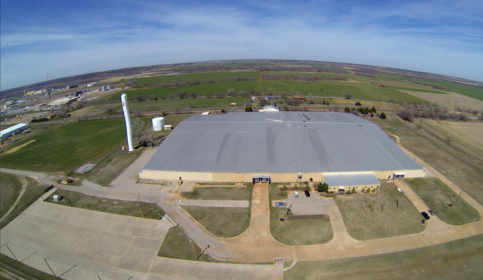 Photo - This aerial photo shows the 240,000-square-foot warehouse owned by the Delaware Nation Economic Development Authority at Anadarko. The plant is the home of Unami LLC, a maker of LED and induction lighting systems.   - PROVIDED BY DELAWARE NATION ECON