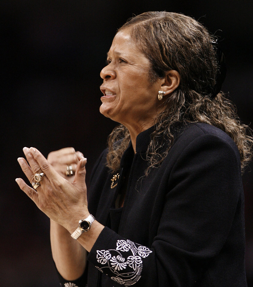 Rutgers head coach Vivian Stringer gestures in the first half of the NCAA women's basketball tournament game between Rutgers and Purdue at the Ford Center in Oklahoma City, Okla. on Sunday, March 29, 2009. 