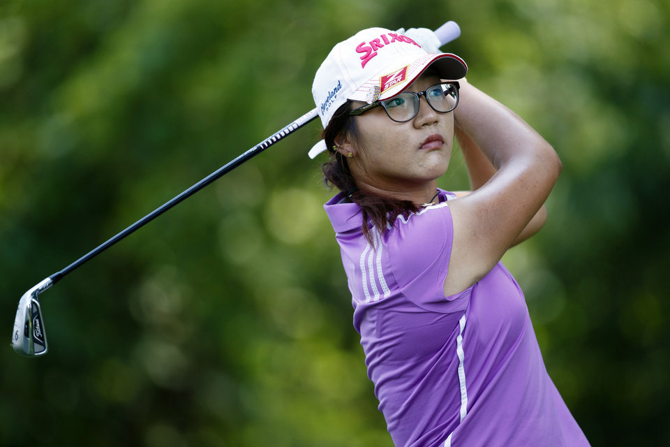 Lydia Ko tees off on the second hole during the second round of the Marathon Classic golf tournament at Highland Meadows Golf Club in Sylvania, Ohio, Friday, July 19, 2013. (AP Photo/Rick Osentoski)