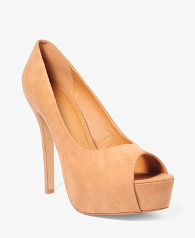 The peep-toe faux suede pumps from Forever 21 for $26.80 will complement your whites nicely and add a versatile colored heel to your wardrobe. (Courtesy Forever21.com via Los Angeles Times/MCT)