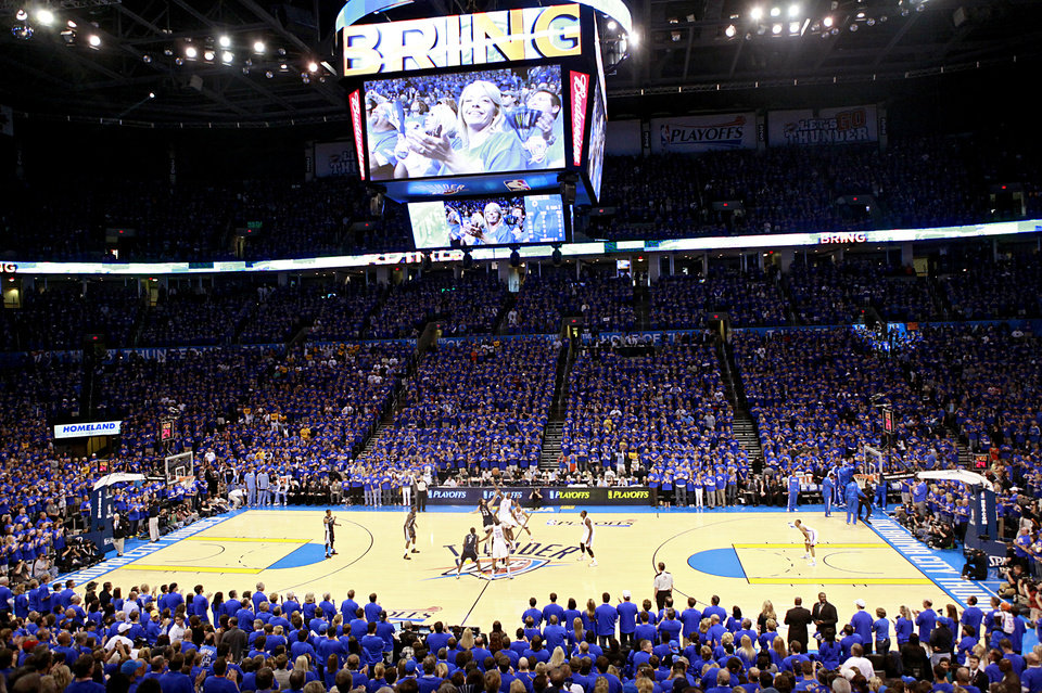 Photo - Thunder fans watch The Oklahoma City Thunder tip off against the Memphis Grizzlies game 7 of the NBA basketball Western Conference semifinals begins at the OKC Arena in Oklahoma City, Sunday, May 15, 2011. Photo by John Clanton, The Oklahoman