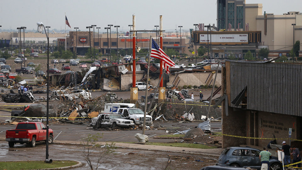 Photo - The Warren Theatre in Moore is shown after Monday's tornado.  BRYAN TERRY - THE OKLAHOMAN