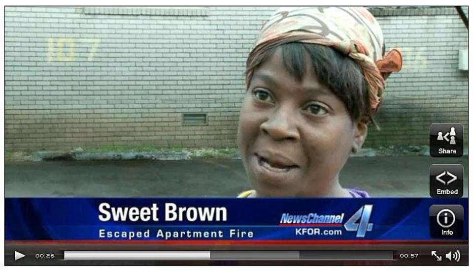 "Photo - Screen grab from KFOR.com of the ""Sweet Brown"" interview. Photo provided"