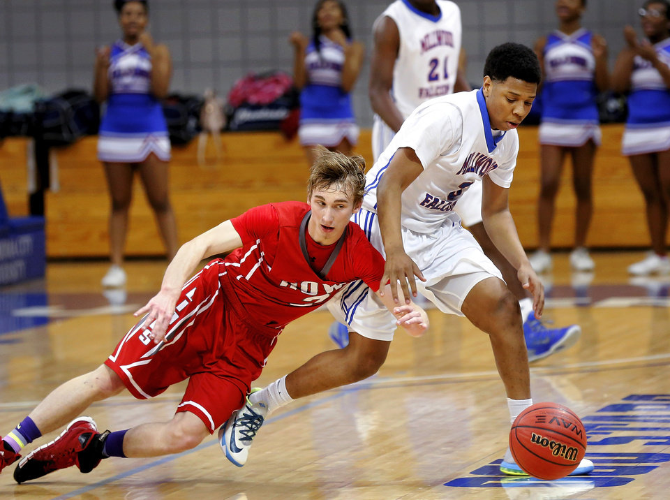Photo - Howe senior Nick Smallwood loses his balance while trying to steal the ball from Millwood's Mike Mays during the Class 2A boys basketball quarterfinal game between Millwood and Howe at Oklahoma City University  on Thursday night, Mar. 13, 2014. Photo by Jim Beckel, The Oklahoman