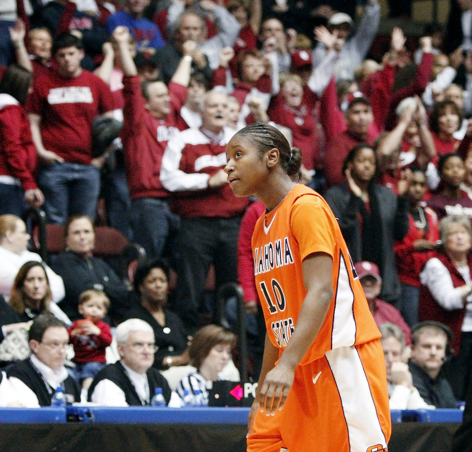Andrea Riley is suspended for Oklahoma State's first-round game against Chattanooga.  Photo by Bryan Terry, The Oklahoman