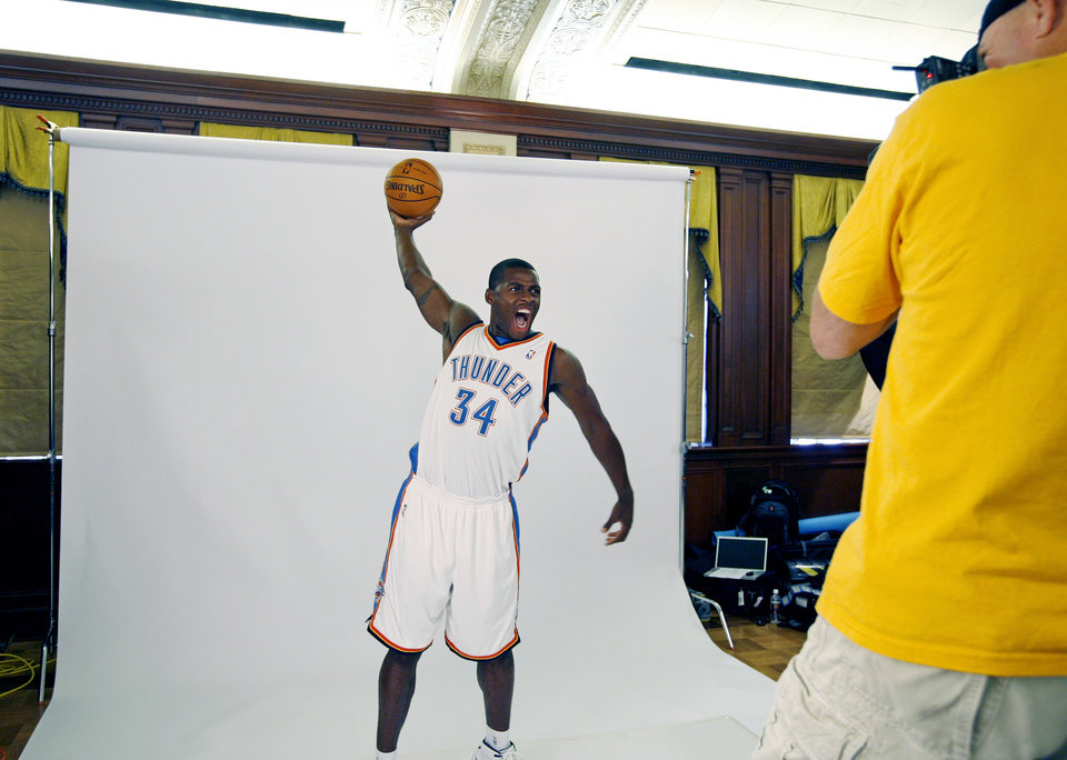 Photo - Desmond Mason poses for a photograph during media day for the Oklahoma City Thunder NBA basketball team at the Skirvin Hilton hotel in Oklahoma City, Monday, September 29, 2008. BY NATE BILLINGS, THE OKLAHOMAN. ORG XMIT: KOD