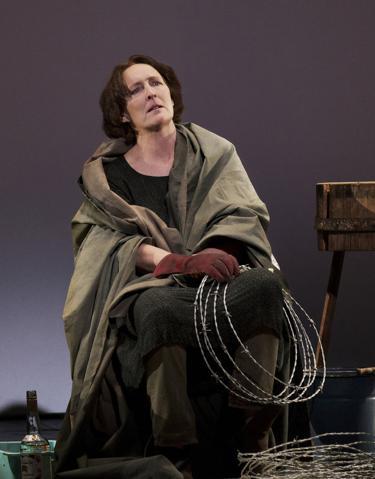 """Photo - This undated publicity photo provided by Philip Rinaldi Publicity shows Fiona Shaw as Mary in a scene from play, """"The Testament of Mary,"""" by Colm Toibin, which opens Monday, April 22, 2013. The one-woman show directed Deborah Warner is currently playing a limited engagement on Broadway at the Walter Kerr Theatre in New York. (AP Photo/Philip Rinaldi Publicity, Paul Kolnik)"""