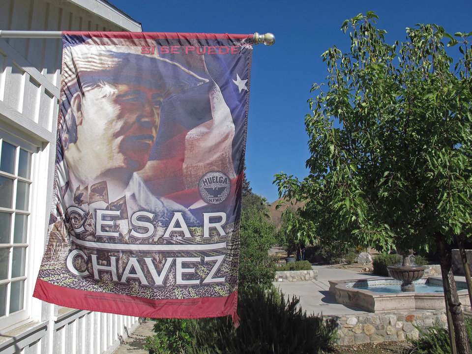 In this Oct, 2, 2012 photo is the 187-acre site in Keene, Calif, known as Nuestra Se�ora Reina de la Paz (Our Lady Queen of Peace), or simply La Paz, that served as the home and the planning center of Chicano leader Cesar Chavez and his farmworker movement starting in the 1970's. Today, the foothills of the Tehachapi mountains continue to house the United Farm Workers of America headquarters and memorials to Chavez, though farmworkers no longer live there. President Obama is designating parts of the property as a national monument and visiting the site on Monday, a move seen as likely to shore up support from Hispanic and progressive voters just five weeks before the election. (AP Photo/Gosia Wozniacka)