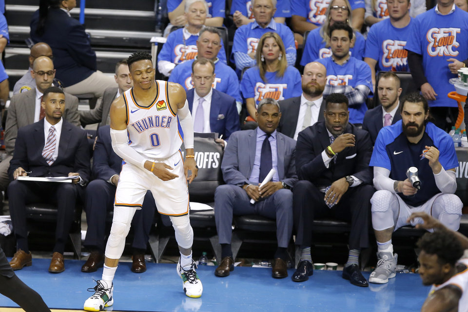 Photo - Oklahoma City's Russell Westbrook (0) reacts after missing a shot during Game 4 in the first round of the NBA playoffs between the Portland Trail Blazers and the Oklahoma City Thunder at Chesapeake Energy Arena in Oklahoma City, Sunday, April 21, 2019. Portland won 11-98.  Photo by Bryan Terry, The Oklahoman