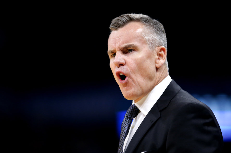 Photo - Oklahoma City head coach Billy Donovan argues a call during the NBA game between the Oklahoma City Thunder and Golden State Warriors at Chesapeake Energy Arena,  Sunday, Oct. 27, 2019. Thunder won 120-92.[Sarah Phipps/The Oklahoman]
