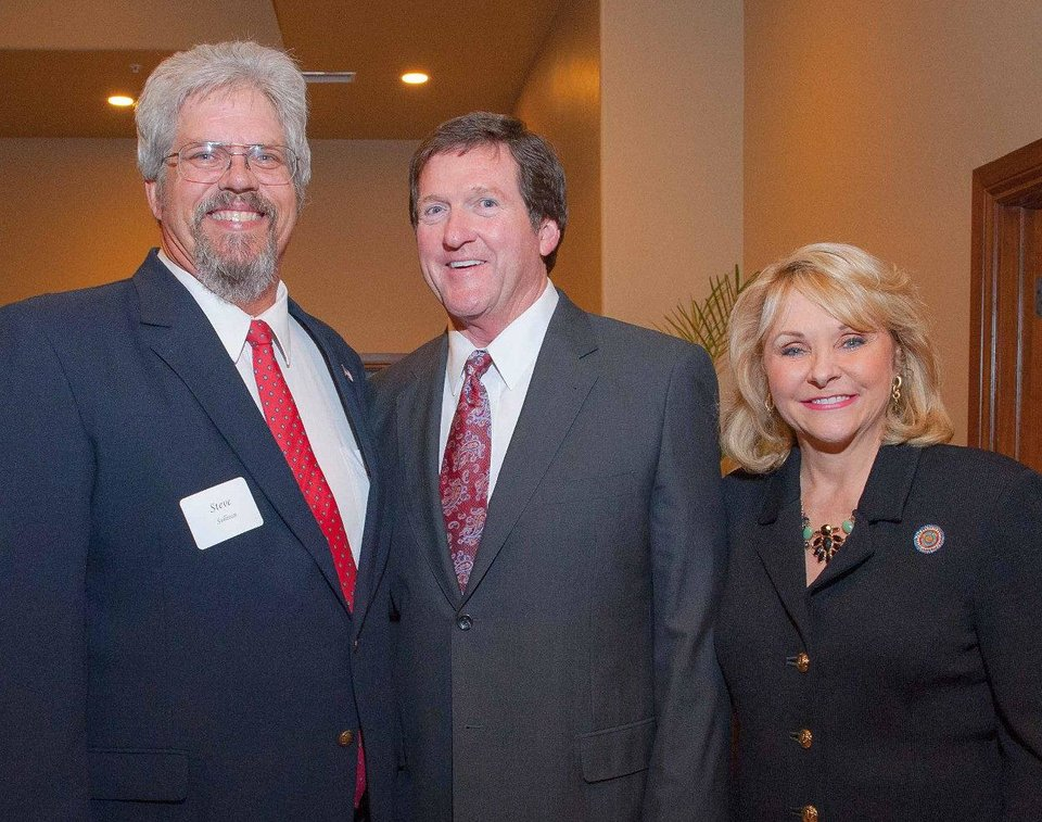 Photo - Steve Sullivan, First Gentleman Wade Christensen and Gov. Mary Fallin. PHOTO PROVIDED