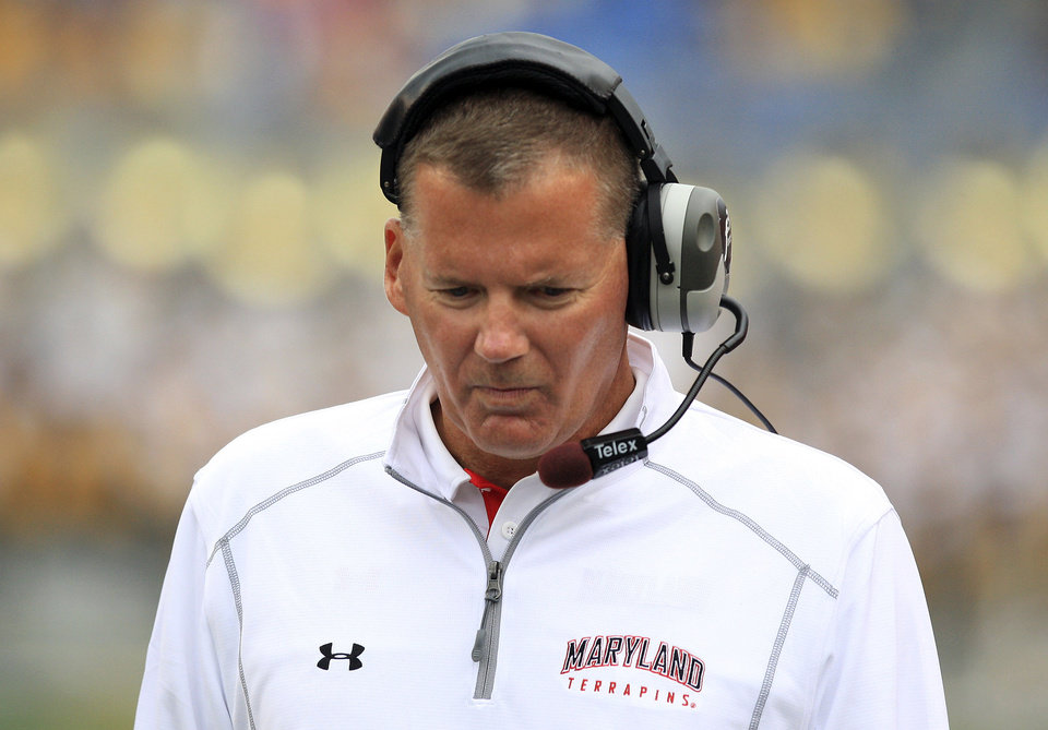 Photo -   Maryland coach Randy Edsall looks on during an NCAA college football game against West Virginia in Morgantown, W.Va., Saturday, Sept. 22, 2012. WVU won 31-21. (AP Photo/Christopher Jackson)
