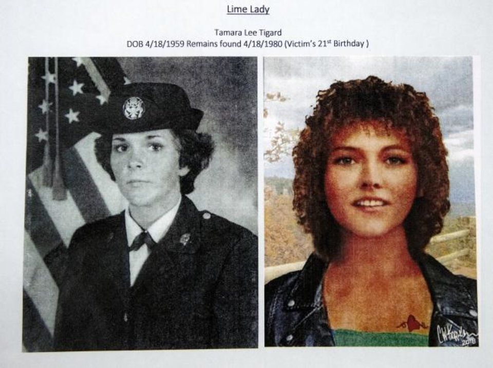 Photo -  Photos presented during a press conference to announce the identity of the 1980 cold case homicide victim Tamara Lee Tigard at the Oklahoma County Sheriff's office in Oklahoma City, Okla. on Thursday, Jan. 30, 2020. [Chris Landsberger/The Oklahoman]
