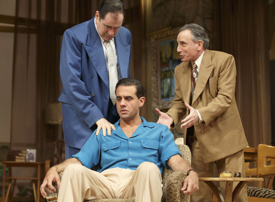 This publicity image released by Polk PR shows, from left, Richard Kind, Bobby Cannavale (seated) and Chip Zien, in a scene from Clifford Odets� drama �The Big Knife�, currently performing on Broadway at the Roundabout Theatre Company�s American Airlines Theatre in New York. (AP Photo/Polk PR, Joan Marcus)
