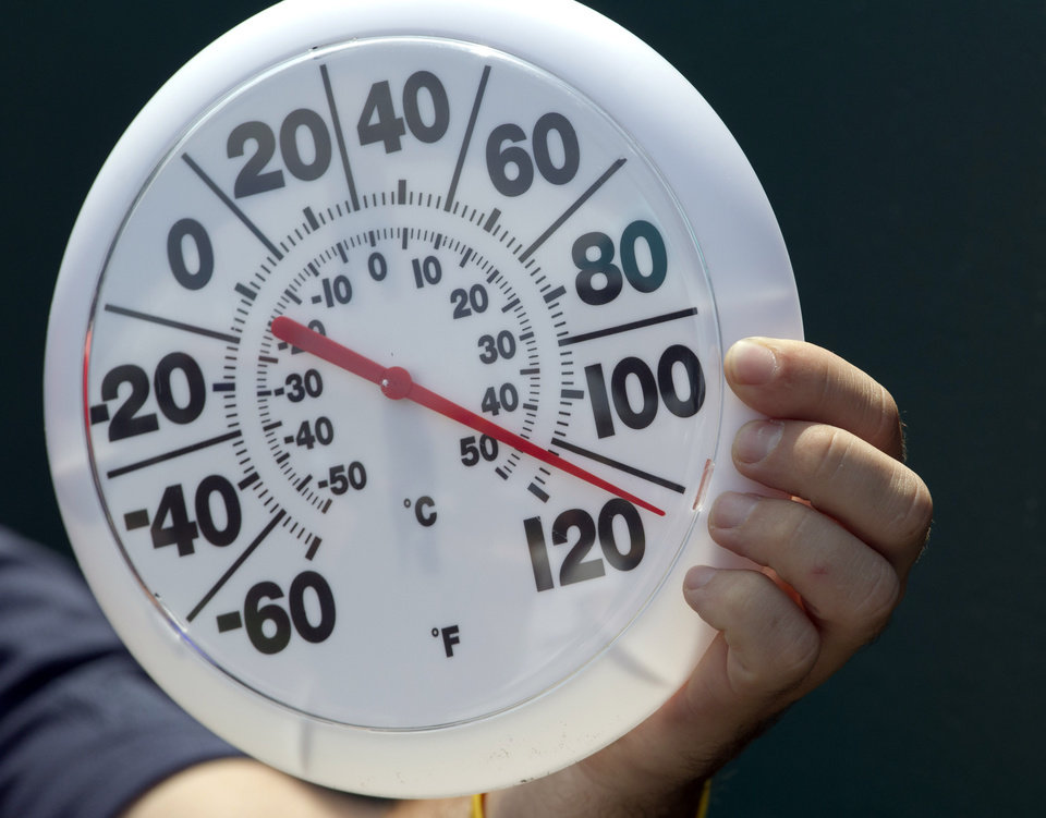 Photo -   A television crew member hold a thermometer near the playing surface during the fifth inning of a baseball game between the Minnesota Twins and Kansas City Royals at Kauffman Stadium in Kansas City, Mo., Sunday, July 22, 2012. (AP Photo/Orlin Wagner)