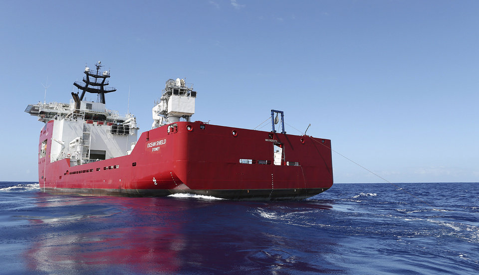 Photo - In this April 4, 2014, photo provided by the Australian Defense Force, the Australian Defense vessel Ocean Shield tows a pinger locator in the first search for the missing flight data recorder and cockpit voice recorder in the southern Indian Ocean. Ocean Shield, which is carrying high-tech sound detectors from the U.S. Navy, was investigating a sound it picked up. (AP Photo/Australian Defense Force, Lt. Kelly Lunt) EDITORIAL USE ONLY