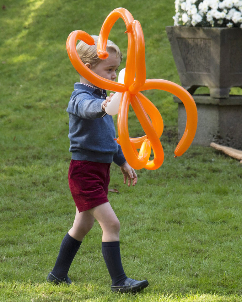 Photo - Prince George plays with a balloon spider during a children's party at Government House in Victoria, B.C. Thursday, Sept 29, 2016. (Jonathan Hayward/The Canadian Press via AP)