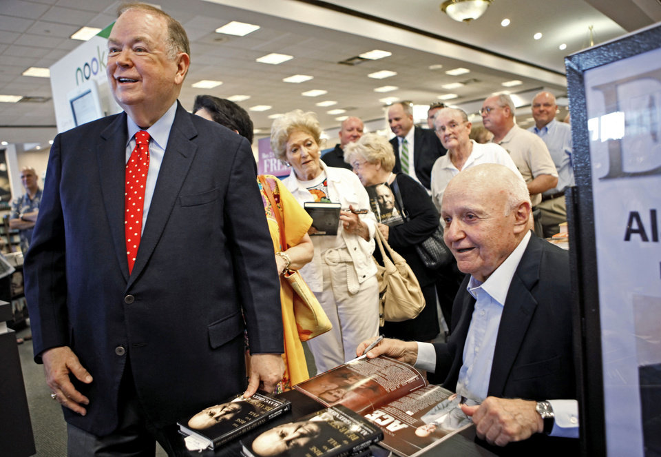 "Photo -  At a 2010 book-signing, University of Oklahoma President David Boren gets Alan Greenberg to sign his book, ""The Rise and Fall of Bear Stearns."" Greenberg, an Oklahoma City native and former head of Bear Stearns, has died at 86. PHOTO BY BRYAN TERRY, THE OKLAHOMAN ARCHIVES   BRYAN TERRY -  THE OKLAHOMAN"