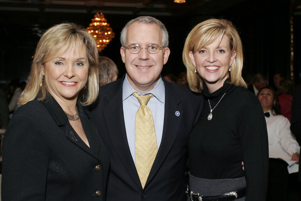 Photo - Congresswoman Mary Fallin, Governor Brad Henry, and Kim Henry at the after party for the Centennial Spectacular at the Ford Center Friday, Nov. 16, 2007. By David Faytinger, for The Oklahoman.