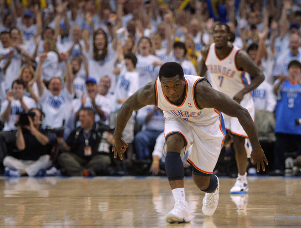 Photo - Oklahoma City's Nate Robinson (3) reacts after a basket during game five of the Western Conference semifinals between the Memphis Grizzlies and the Oklahoma City Thunder in the NBA basketball playoffs at Oklahoma City Arena in Oklahoma City, Wednesday, May 11, 2011. Photo by Bryan Terry, The Oklahoman