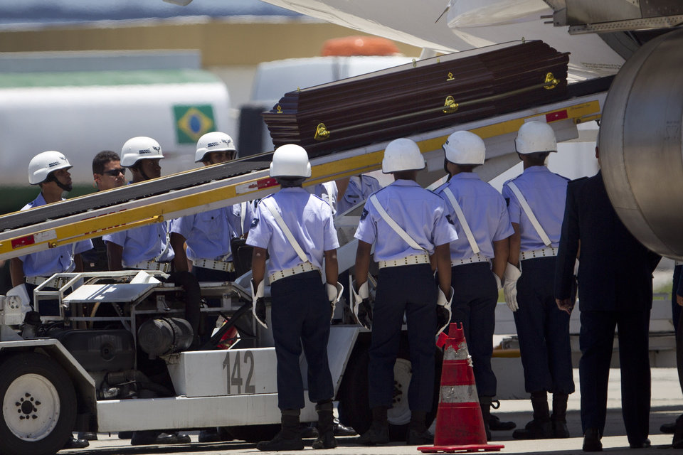 The coffin containing the remains of Brazilian architect Oscar Niemeyer is loaded on a plane bound to Brasilia at the airport in  Rio de Janeiro, Brazil, Thursday, Dec. 6, 2012.  Niemeyer, 104, the groundbreaking architect who designed Brazil's futuristic capital and much of the United Nations complex, died Wednesday night in Rio de Janeiro, the seaside city where he was born and where his remains will be buried after he is honored with a service in Brasilia at the presidential palace he designed.(AP Photo/Felipe Dana)